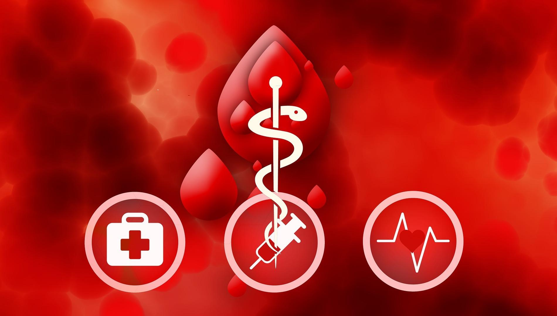 Mehrere Symbole (Erste-Hilfe-Koffer, Aeskulapstab, Spritze, Herzfrequenz) vor roten Blutstropfen
